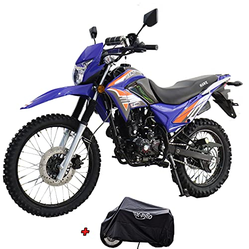 X-PRO Hawk 250 Dirt Bike Motorcycle Bike Dirt Bike Enduro Street Bike Motorcycle Bike with Cover, Bluetooth Speaker and Phone Bracket! (Blue)