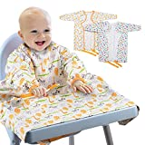 XCSOURCE 2Pcs Long Sleeved Bib for Babies and Toddlers(6-24 Months), Baby Weaning Bib Feeding Coverall Straps to Any Highchair, Waterproof Bib for BLW Baby Led Weaning Supplies