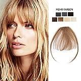 Frange a Clip Cheveux Naturel Noisette Fausse Frange Chatain Clair[Frange:5'(12cm)+ Tempe:8'(20cm)] - 06#Noisette 100% Remy Hair Glisse & Silky