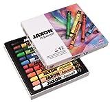 Honsell 49412 - Jaxon Aquarell Wachspastellkreide, wasservermalbar, 12er Set im Kartonetui, hohe Farbbrillanz, satter Farbaufstrich, für Künstler, Hobbymaler, Kunstunterricht