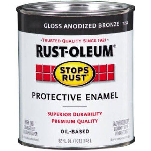 Rust-Oleum 7754502 Stops Rust Brush On Paint, Quart, Semi-Gloss Anodized Bronze