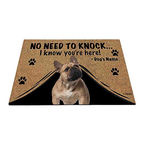 BAGEYOU Personalized Dog's Name Outdoor Doormat with My Love Dog French Bulldog Welcome Floor Mat Not Need to Knock I Know You're Here 23.6' X 15.7'