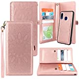 Harryshell Galaxy A10e Case, Detachable Magnetic 12 Card Slots Wallet Case Shockproof PU Leather Flip Protective Cover Wrist Strap for Samsung Galaxy A10e (Flower Rosegold)