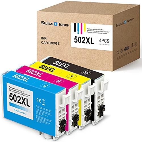 SWISS TONER Kompatibel für Epson 502XL 502 XL Tintenpatronen für Epson Expression Home XP-5100 XP-5105 XP-5115 Workforce WF-2860D WF-2860DWF WF-2865DWF Drucker,Schwarz Cyan Magenta Gelb