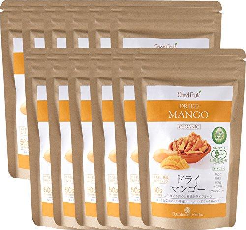 JASオーガニック認定 タイ産有機ドライマンゴー(マハチャノック種)50g 12袋 JAS Certified Organic Dried Mango (Maha Chanok)
