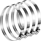 4 Pieces Adjustable 304 Stainless Steel Duct Clamps Hose Clamp (8 Inch)