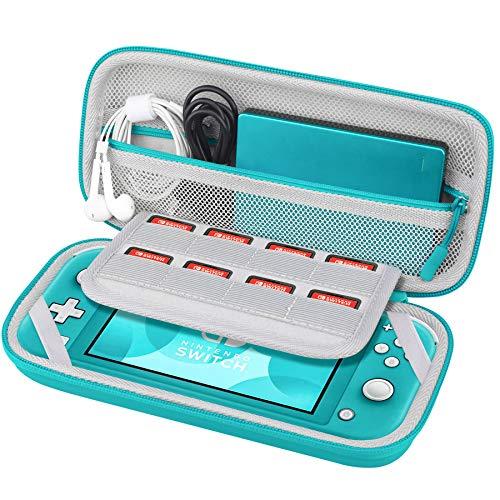 BOVKE Nintendo Switch Lite キャリング ケース、8 つのゲーム カード スロット、パワー バンク用の追加のメッシュ ポケット、耳栓、その他のアクセサリー、ターコイズ