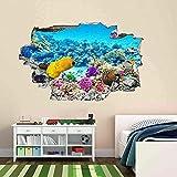 Acuario submarino Coral Fish 3D Etiqueta de la pared Mural Decal Kids Room Decor 50x70 cm