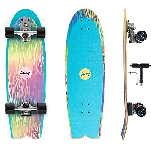 VOMI Monopatín Completo Skateboard Niño para Principiantes, 32In Profesiona Surfskate Board con S7 Carving Truck, con Rodamientos De Bolas ABEC-11 Tabla De Skate 7 Capas Arce Duro Longboard Cruiser