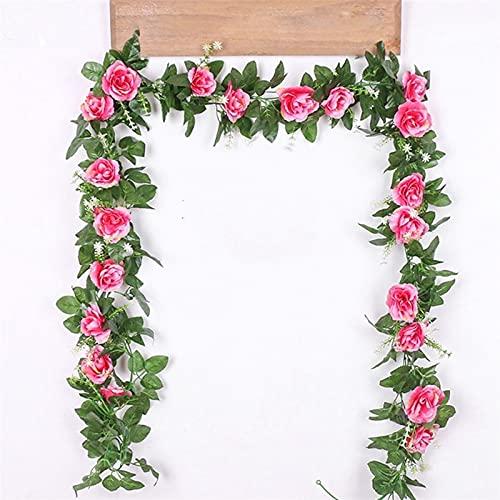 YYOBK TS Decorazione da Cerimonia Nuziale da Giardino All'aperto, Vite Artificiale Rose Appeso Ghirlanda Finta Pianta Foglia Foglia Rattan, Accessori per La Decorazione di Nozze (Color : Rose Red)