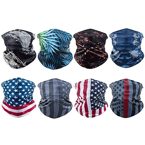 Sun UV Protection American Flag Youth Face Scarf Mask Bandanas Men Women Neck Gaiter Scarf Headwear for Winter Outdoor Sports (mix-02)