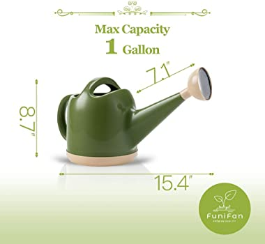 Funifan 1 Gallon Watering Can for Indoor & Outdoor House Plants, Detachable Shower Head Long Spout Garden Watering Can, P