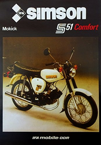 Schönes Prospekt Simson Mokick S 51 Comfort 50 ccm - DDR STIL 1986 VEB SUHL