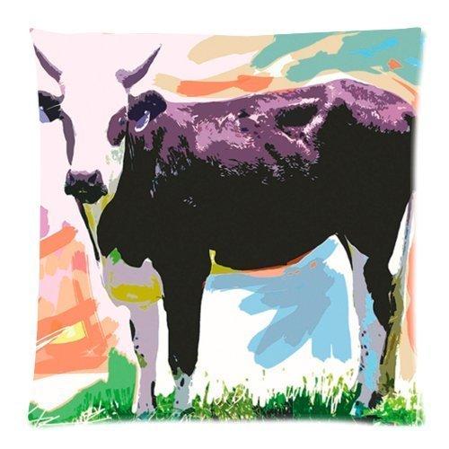 Aquarel Schilderij Grappige Melk Koe Kunst Dier Kussensloop Kussensloop Kussen met Rits Kussensloop Vierkant 18 X 18 Inch (Twin Sides)