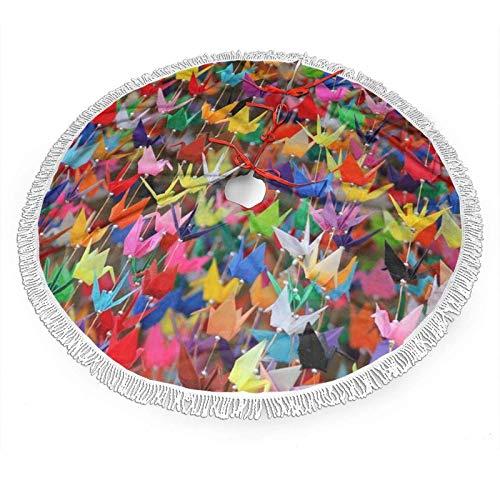 shenguang Falda de árbol de Navidad con Encaje con Flecos Blancos de 36 ', patrón de grullas de Papel de Origami Faldas de árbol de Navidad para Navidad/Navidad/Vacaciones/Decoración de fi