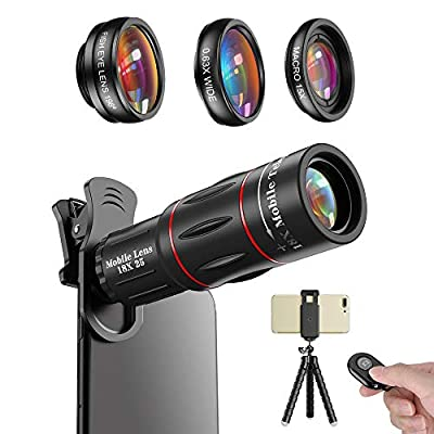 Apexel Phone Photography Kit-Flexible Phone Tripod +Remote Shutter +4 in 1 Lens Kit- 18X Telephoto Lens, Fisheye, Macro & Wide Angle Lens for iPhone 11/XS Max/XR/ XS/X 8 7 Plus Samsung OnePlus Phones from Apexel