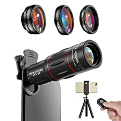 【How many lenses are included?】 4 in 1 cell phone camera lens kit is designed for enthusiasts and professionals.It includes 18X telephoto lens,fisheye lens,wide angle lens & macro lens, flexible tripod, bluetooth shutter, phone holder, lens clip, eye...