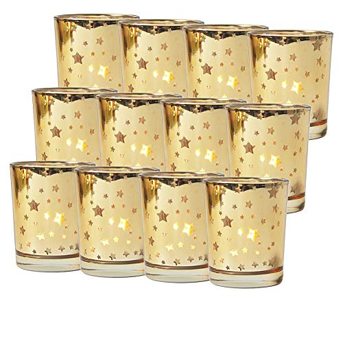 Seloom Gold Votive Candle Holder Set of 12, Mercury Bulk Glass Tealight Candle Stands, Perfect for Home, Parties, and Wedding Decor-Tea Light Candles not Included