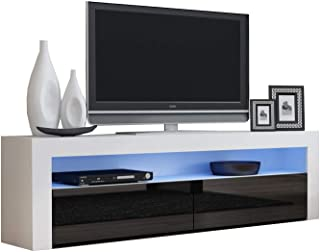 TV Console MILANO Classic WHITE - TV stand up to 70-inch flat TV screens – LED lighting and High Gloss finish front doors – Mesa TV Milano para televisores hasta 70 pulgadas (White & Black)