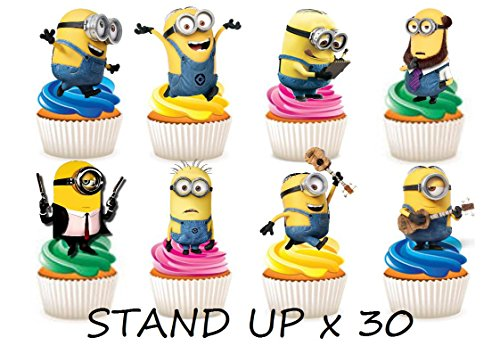 30 x Minions Party Stand up Essbare Papier Cupcake Topper Kuchen Dekorationen