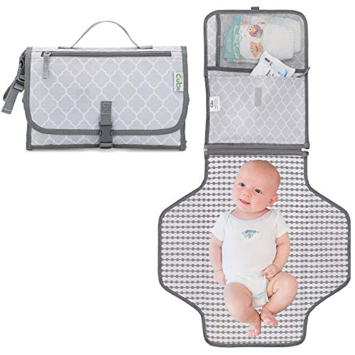 Baby Portable Changing Pad, Diaper Bag, Travel Mat Station Grey Large
