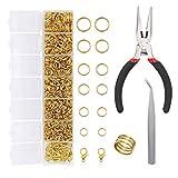 EuTengHao 1504 pezzi oro aperto anello di salto e moschettoni kit di riparazione gioielli kit di accessori per la creazione di collane (oro)