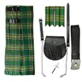 Tartanista - Conjunto para hombre - Kilt escocés/sporran/complementos - Tartán Irish - UK50 (127 cm)