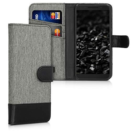 kwmobile Wallet Hülle kompatibel mit Alcatel 1S - Hülle mit Ständer - Handyhülle Kartenfächer Grau Schwarz