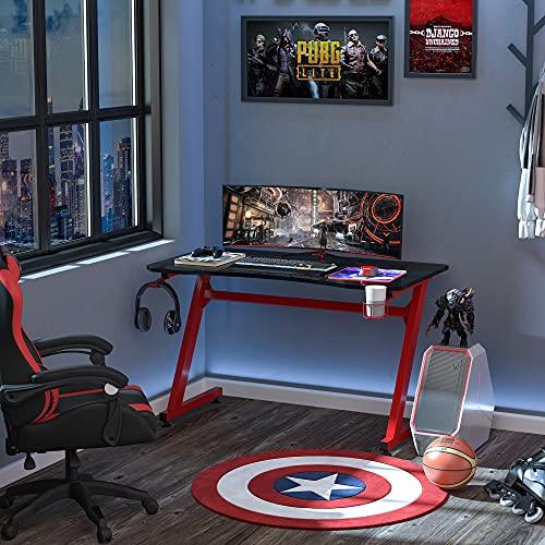 HOMCOM Mesa Gaming para Ordenador PC Escritorio de Oficina con Portavasos Gancho para Auriculares y...