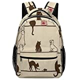 Mochila escolar Casual Cute Cat Eat On The Line Novelty Necktie Tie Choker Backpack Adjustable Daypack Lightweight Sackpack One Size For Student & Outdoor Polyester Fabric Durable Strong