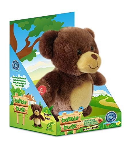 Mindscope Babble Budz Mimicking Animatronic Furry Friends Plush Toy with 3 Voice Filters (Brown Bear)