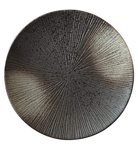 YANGLOU- Snack Dip Bowls Dishware Placa de cerámica japonesa,Negro Redondo Cerámica Cerámica Plato Plato Plato Placa for el hogar Plato de plato occidental Plato de filete,tamaño[8.5in,10.5in]for la c