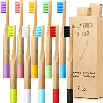 10 Pcs Kids Bamboo Toothbrush Natural Soft Bristle Toothbrush Wooden Toothbrushes Toddlers Natural Wood Organic Toothbrush BPA Free Color Travel Children