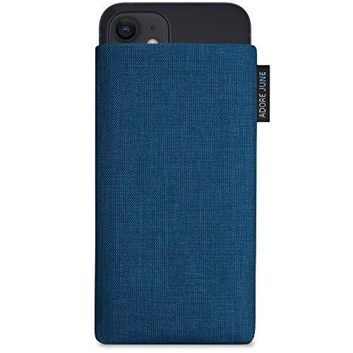 Adore June Classic Ozean-Blau Tasche kompatibel mit iPhone 12 Mini Handytasche aus beständigem Cordura Stoff mit Bildschirm Reinigungs-Effekt, Made in Europe