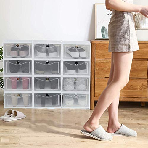 HTNBO Foldable Shoe Box, Stackable Clear Shoe Storage Box - Storage Bins Shoe Container Organizer, 12 Pack - White