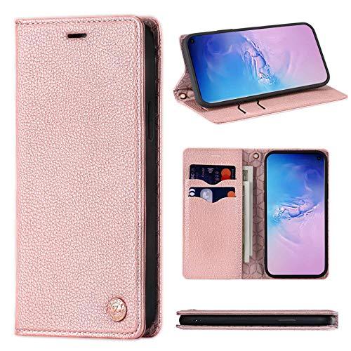 ZCDAYE Hülle für Samsung Galaxy S9, Samsung Galaxy S9 Handyhülle, Dünne Handytasche [Starke Magnetadsorption][Litschi-Muster][Kartenfach][Standfunktion] Flip Case Samsung Galaxy S9,Rosegold