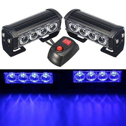 HEHEMM Luces Estroboscopicas, 8 Leds Luz de Emergencia Luces de Advertencia 12V Led Barra de Luz Universal para Camioneta Camper Caravana Vehículo (Azul)