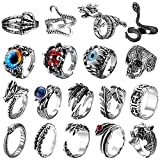 JeweBella 8/18 Stück Ringe Herren Vintage Punk Öffnung Ringe Wolf Klaue Octopus Dragon Schlangen Ring für Herren Damen Fingerring Verstellbar Gothic Schmuck Ringe Set für Männer