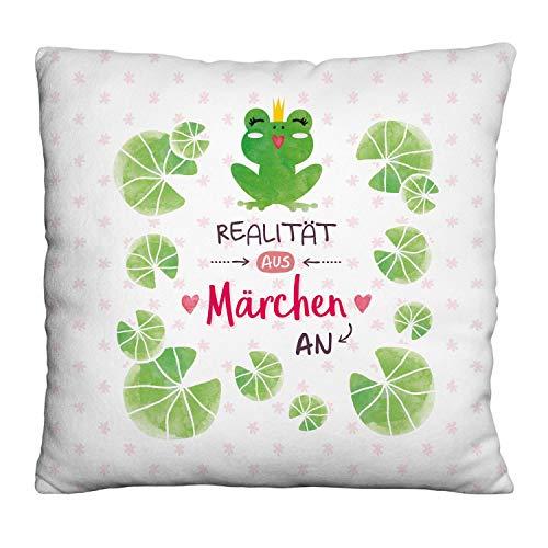 Die Geschenkewelt 46171 kleines Dekokissen mit Frosch und Spruch Realität aus Märchen an, Plüsch, grün, weiß, rosa, 25 cm x 25 cm Kissen