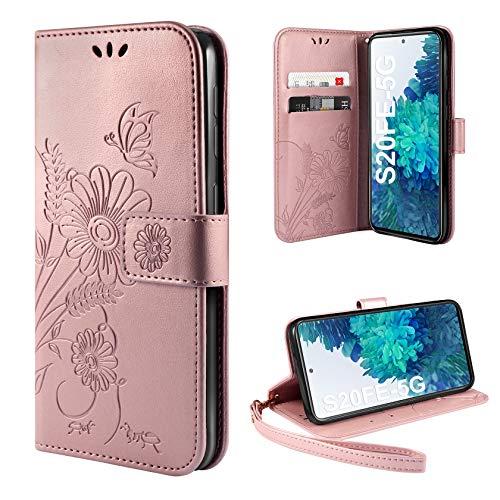 ivencase Funda Compatible con Samsung Galaxy S20 FE 5G, Libro Caso Cubierta la Tapa magnética Protector Billetera Cuero PU Carcasa Función Atril Ranuras Tarjetas Wallet Case - Rosa
