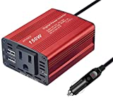 Power Inverter,150W Car Power Inverter Car Plug Adapter DC 12V to 110V AC Converter Outlet Charger with 2.1A 1A Dual USB Charger for Phone, iPad, Laptop, Camera, Camping, etc