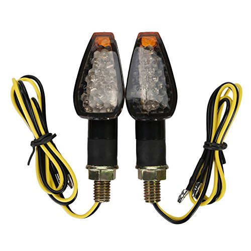 YC Lot de 2 ampoules LED pour clignotants de moto - Ambre - Compatible avec Chopper, Cruisers, Touring - Harley Honda Suzuki Yamaha Kawasaki Cicmod (housse noire)
