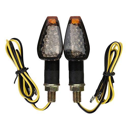 Yc Motorrad-Blinker / -Indikatoren, 2x LED-Leuchtmittel, bernsteinfarbenes Licht, passend für Chopper, Cruiser, Touring-Motorrad, Harley, Honda, Suzuki, Yamaha, Kawasaki, Cicmod, Black Cover