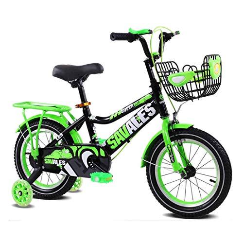 Bicicleta infantil, cesta delantera y rueda de entrenamiento 12 (14,16) pulgadas asiento ajustable (color: verde, tamaño: 16 pulgadas) JoinBuy.R