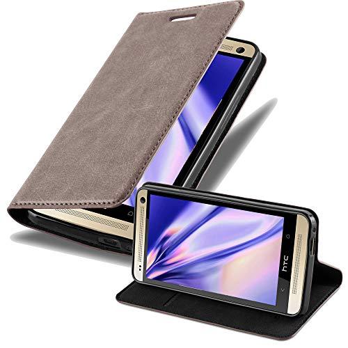 Cadorabo Hülle für HTC ONE M7 (1.Gen.) - Hülle in Kaffee BRAUN – Handyhülle mit Magnetverschluss, Standfunktion und Kartenfach - Case Cover Schutzhülle Etui Tasche Book Klapp Style