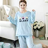 HAOLIEQUAN Woman Long Sleeve Casual Pajama Set Womens Tops and Blouses Ladies Flannel Home Clothing Student Winter Nightwear -