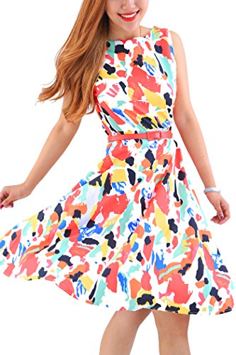YMING Damen Partykleid Leichtes Kleid Sommerkleid Knielanges Cocktailkleid Ärmellos Midikleid Bunt M