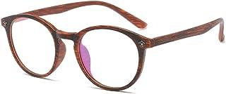 47279cc64e D.King Glasses Vintage Classic Round Full Frame Wood Grain Unisex Eyelasses