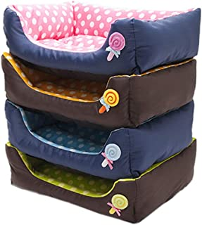 Glumes New Rectangle Pet Bed with Lollipop Printing,Resistant Bite Soft and Washable Pet Mat Dog House Small Medium Large Pet Animal Small Dog Bed Ideal
