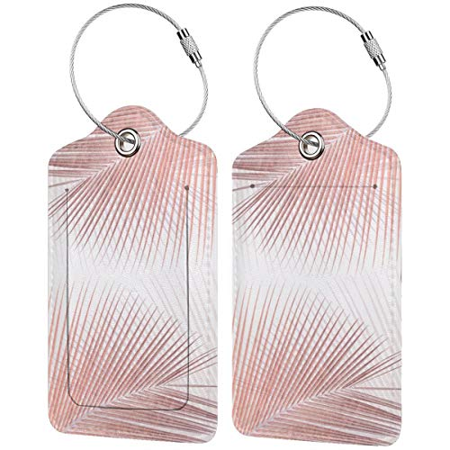 Palm Leaf Synchronicity Rose Gold Luggage Tags Suitcase Carry-on Id Intial Bag Holders with Adjustable Straps for Travel Business,2 per Set